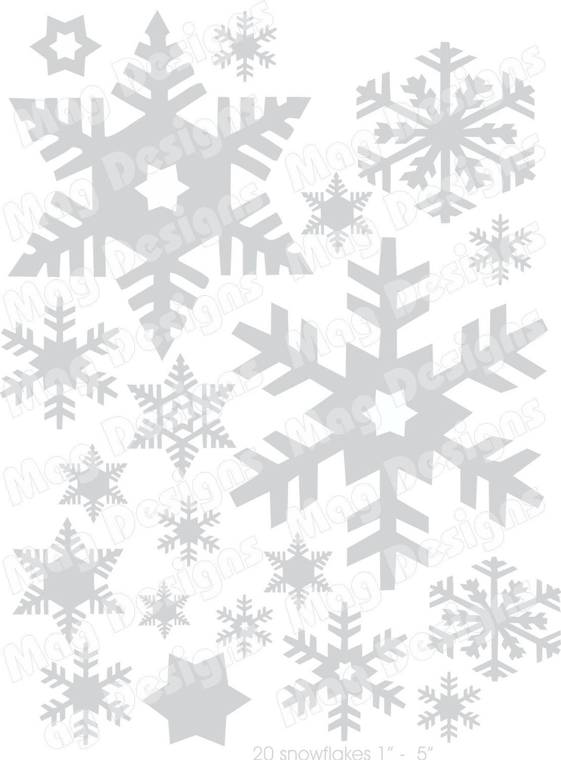 Snowflakes Vinyl Snowflake Decals Silver Gold Or White