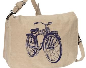 VINTAGE BIKE BAG -- Canvas messenger bag -- large field bag -- adjustable strap skip n whistle
