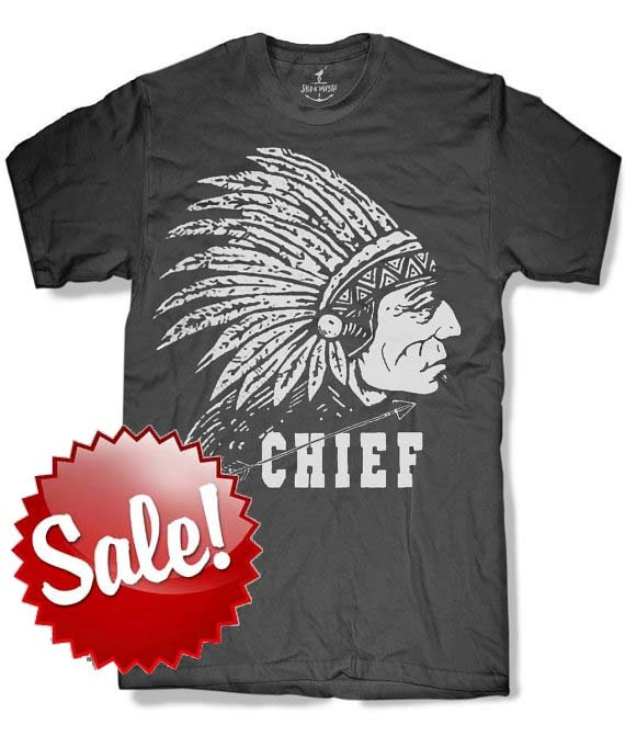 INDIAN CHIEF Mens t shirt -- 8 color options -- sizes sm med lg xl xxl skip n whistle