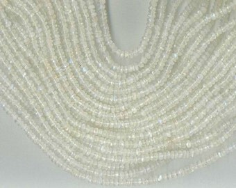 "14"" Strand 4mm Faceted RAINBOW MOONSTONE Rondelle Beads"