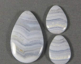 Blue Lace Agate natural rock cabochon hand cut and polished SET