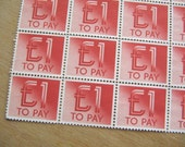 20 Vintage Red To Pay 1 Pound Sterling British Postage Due Stamps Labels - Red Stamps - 20 Stamps Sheet of Red Stamps - Old Stamps