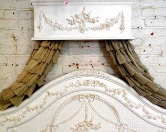 Painted Cottage Chic Shabby Handmade Bed Crown