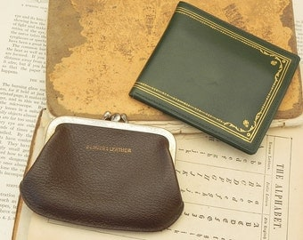 Vintage leather wallet and coin purse