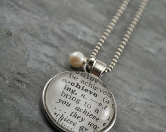 Vintage Dictionary Word Necklace Pendant ACHIEVE