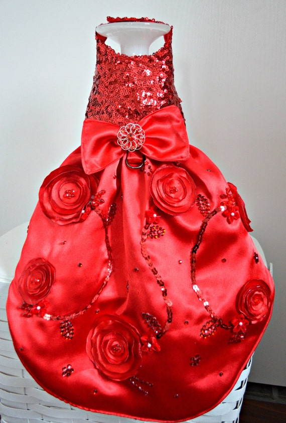 items similar to dog dress wedding red sequin fancy
