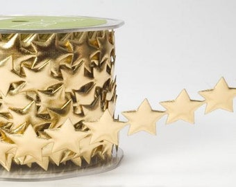 Stars Ribbon - Gold - .75 inch  - You Choose Yards