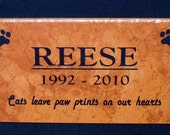 "Free Shipping- PET Memorial Grave Marker 12x6 - ""Reese"" Design - Italian Porcelain Tile"