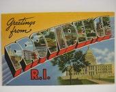 Providence RI Greetings Postcard 72672 Berger Bros Linen Vintage