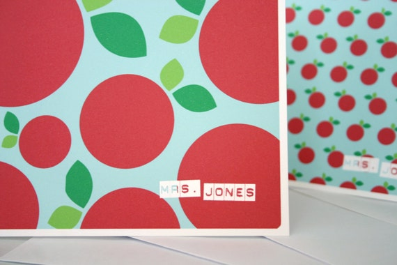 Personalized Teacher Note Card Gift Set Apple Pattern School Holiday Gift Elementary PreK Kindergarten Teacher Customized Name Stationery