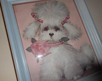 Vintage poodle picture upcycled vintage frame