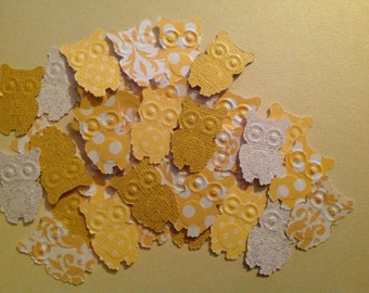 50 pc Sunny Yellow and White  Paper Owls      Baby Shower Confetti   Table Decorations   Wedding