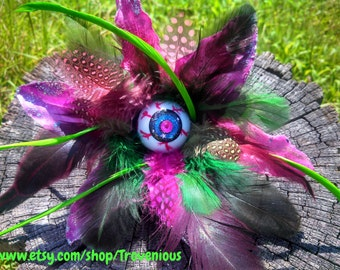 Zombie Alien Eyeball Hair Clip Very Feathery in Lily