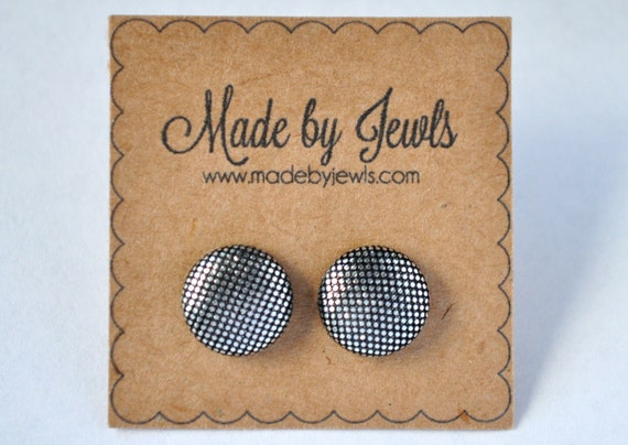 Fabric Covered Button Earrings - Metallic Silver - Buy 3, get 1 free