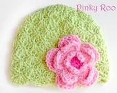 crochet baby hat  / Flower Baby hat / photo prop for newborns pictures / girl hat