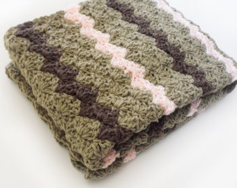 Crib Size Crochet Baby Blanket in taupe, peach and brown