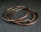Copper Bangles, stacking bangles, copper twist bangles, hammered copper bracelets, hammered metal, 7th anniversary gift, copper aniversary