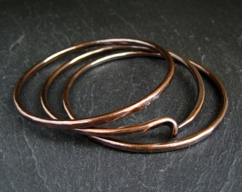 Copper Bangles, stacking bangles, copper twist bangles, hammered copper bracelets, 7th anniversary gift, copper anniversary, women's bangles