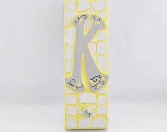 Mosaic Wall Hook - Letter K - Broken China - Peg Board - Coat Hanger - Personalized - Yellow and Gray