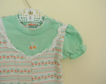 Vintage Mint Green and Pink Knit Baby Girl Outfit by Health-tex - Size 6 Months