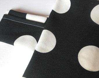 Black and white polka dot fabric door stop