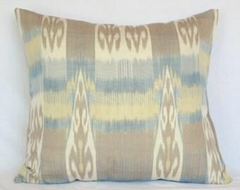 20x20, ikat pillow, ikat fabric, uzbekistan ikat, by SilkWay, brown ikat, brown pillow, blue, brown blue
