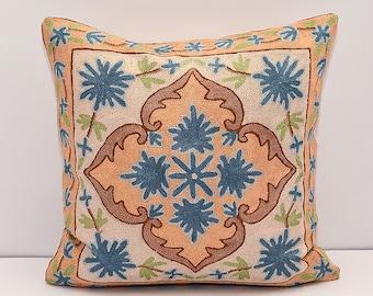 blue brown orange and cream beautiful handmade silk embroidered pillow cover, design pillow, sofa cushion, oriental pillows,