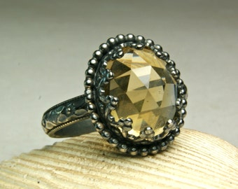 Oxidized Silver Citrine Ring, Cocktail Ring, Faceted Gemstone, Sterling Jewelry, Victorian Style, custom sized