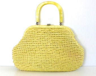 Vintage Light Yellow Woven Handbag // Made in Japan
