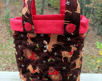 Christmas Gift Bag, Quilted Gift Bag, Reusable Gift Bag, Northwoods Animals