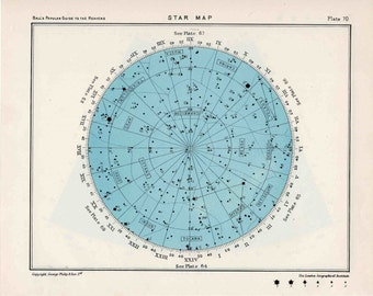1955 star map 69 & 70 constellations original vintage celestial print astronomy chart