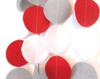 Red, Grey, White Garland, Felt Garland, Red Nursery, Birthday Party, Circle Garland