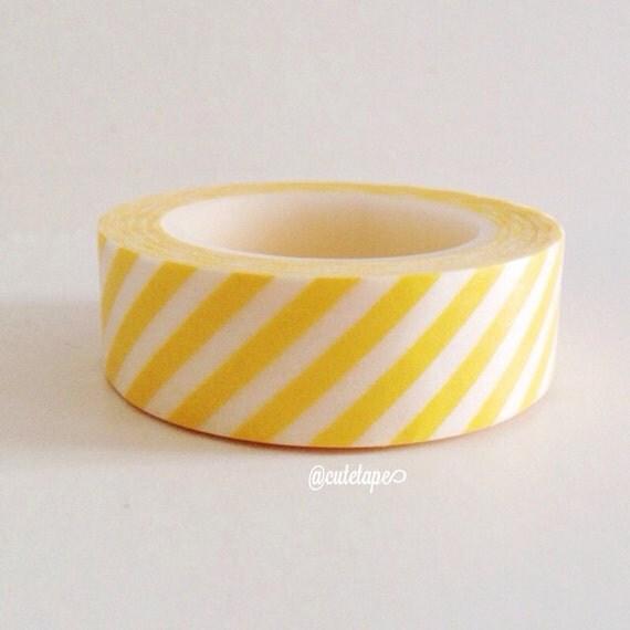 Yellow Stripe Washi Tape Diagonal (Chugoku) Yellow wedding decor tape