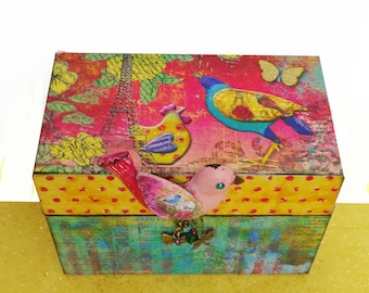 Recipe Box Birds of a Feather Personalized Wooden