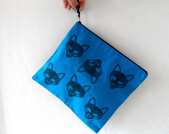 Fox  Clutch / Fox Pouch / Zipper Pouch / Blue handbag / hand stamped bag