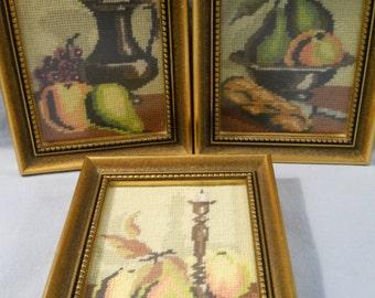 3 Vintage Columbia Minerva Needlepoint Finished Framed Glass Fruit Caron International