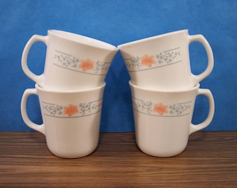 4 Corning Ware Cups. Corelle Apricot Grove Retired Pattern. Vintage. 3949