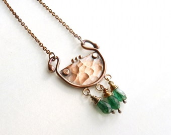 """Mixed Metal Necklace Copper Bronze Silver Chain Green Stone Necklace Abstract Design Aventurine Gemstone Jewelry 19"""" Long Grecian Inspired."""