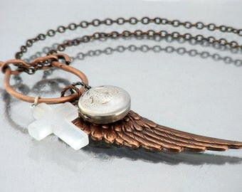 Memory Keeper Necklace - Snow Quartz Cross, Vintage Sterling Locket / Angel Wing Charm Clip - 28 inch Long Chain Necklace