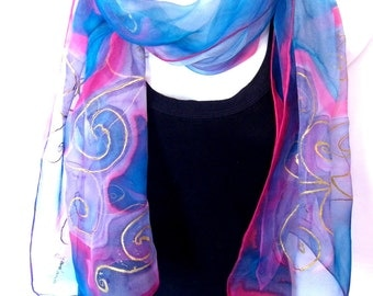 Hand Painted Silk Scarf, Aqua Blue Pink, Abstract Gold Swirls Design, Silk Chiffon Scarf