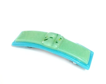 Hair Clips, French Barrette, Women, Aqua Blue and Green Large Clasp