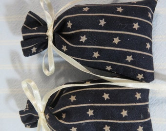 "Patriotic Black 3""X2"" Sachet-'Blackberry Sage' Fragrance-Ivory Star Masculine Sachet-Cotton Herbal Hand Blended Sachet-Cindy's Loft-153"