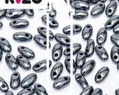 Rizo Beads, Hematite,  glass, #7117