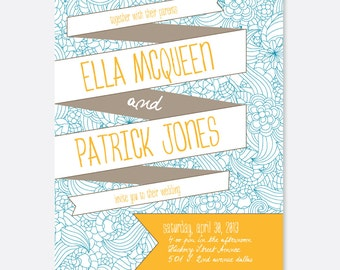 Flower Banner Wedding Invitation, Floral Wedding Invitation, Banner Wedding Invitation, Modern Wedding Invitation, Script, Floral, Banner