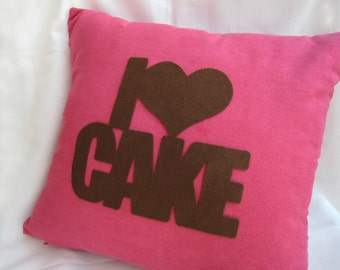I Love Cake Rose Pink And Brown Pillow Cover. Cozy Tea Time. Fuchsia Cushion Cover. Color Choice