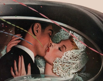 vintage mid century retro romance wedding kisses illustration digital download