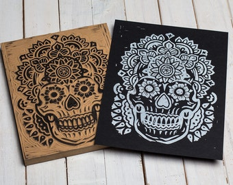 The Mandala Skull -  Block Print Black