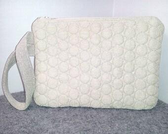 Cream Off White & Gold Embroidered Wristlet Bag Pouch Handbag