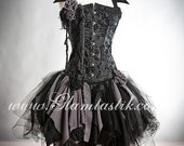Custom Size black and gray Burlesque zombie corset dress with collar Available in small to XL.