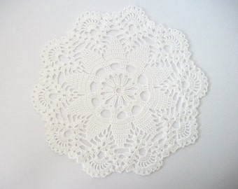 White Doily Crochet Cotton Lace with Large Flower Center and Scalloped Edge Heirloom Quality